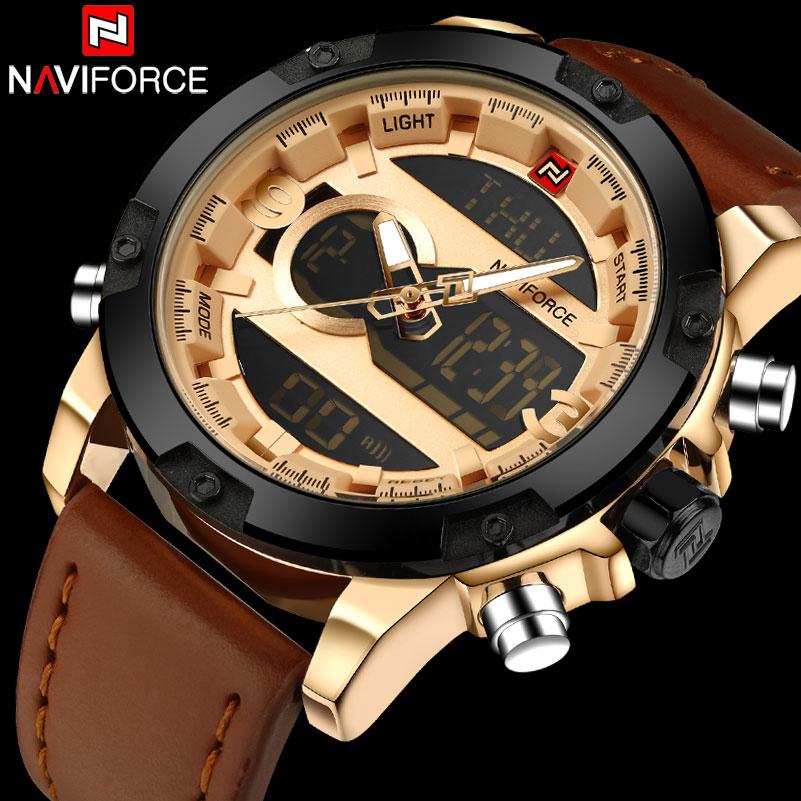 NAVIFORCE Brand Men Military Sport Watches Waterproof LED Digital Watch Men's Leather Analog Quartz Wristwatch Relogio Masculino