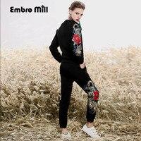 Высококлассный женский цветочный костюм комплект Винтаж embrodiery Дракон пальто Топ + до щиколотки Харлан брюки леди 2 шт. Женский комплект S XXL