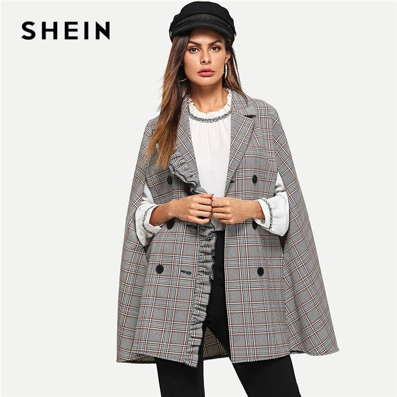 Шеин многоцветный спецодежды элегантный оборкой две пуговицы плащ рукавом плед Кабо пальто 2018 осень Highstreet пальто Верхняя одежда