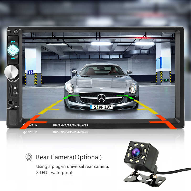 """7 JMCQ """"Rádio Do Carro jogador com 8 MP5 DIODO EMISSOR de luz de Backup câmera Touch screen 2 din Player Multimídia Carro controles da roda de direcção"""