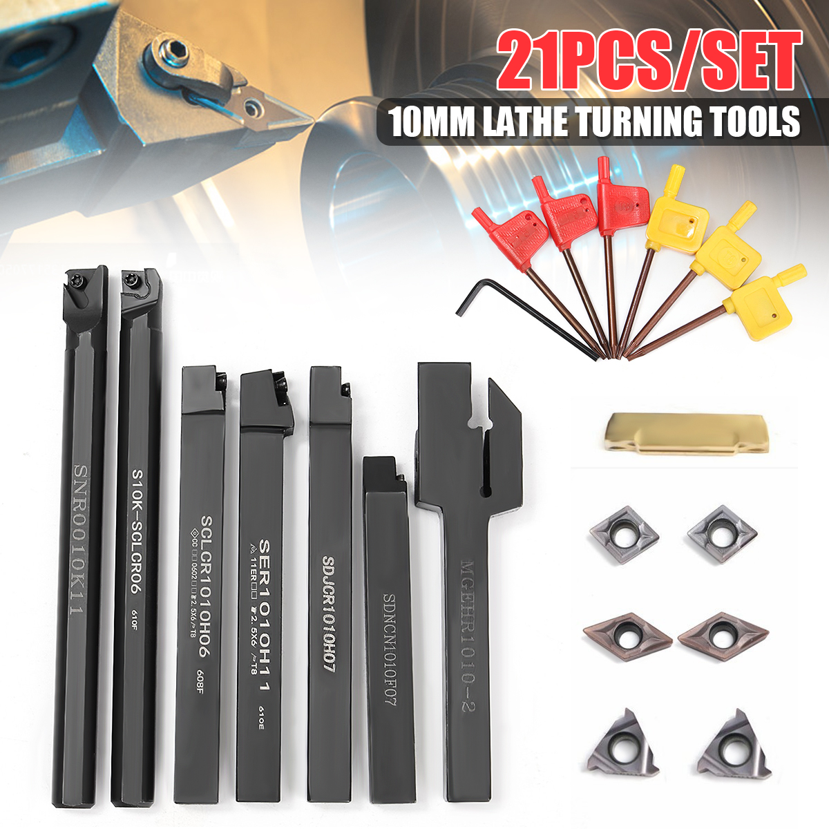 7pcs 10mm Lathe Turning Tool Holder Boring Bar With 7pcs DCMT/CCMT Carbide Insert And 7pcs Wrenches hot sale 7pcs set of 12mm cnc lathe turning tool holder boring bar with dcmt tcmt ccmt cutting insert with wrench