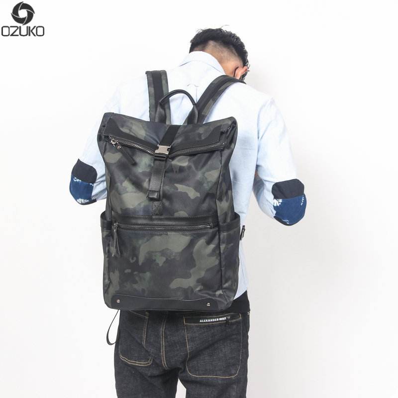 OZUKO New high quality camouflage backpack mens minimalist fashion backpack unisex ladies travel bags girls school bags
