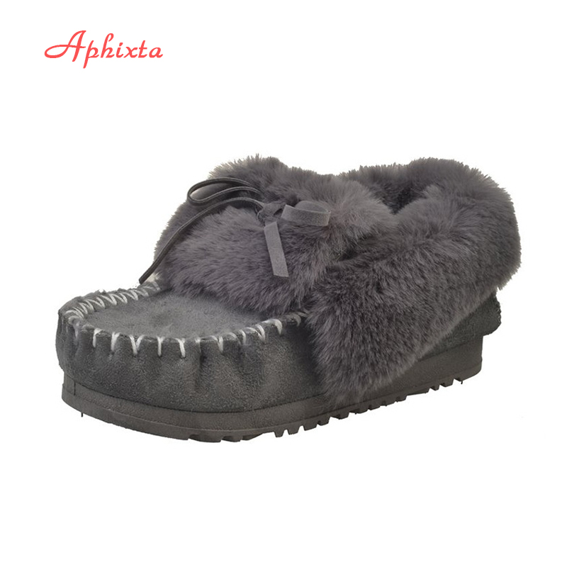 Frauen Schuhe FäHig Aphixta Frauen Winterstiefel Warme Plattform Schnee Stiefeletten Frauen Schuhe Runde Kappe Weiblichen Pelz Schmetterling-knoten Botas Mujer