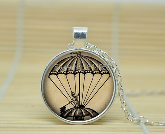 1pcs Hot Air Balloon Necklace Pendant Jewelry Gl Cabochon A2337
