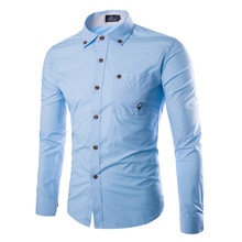 Autumn Mens Shirts Solid Color Slim Fit Long Sleeve Mushroom Printed Male Korean version youth Casual Clothing Comfortable