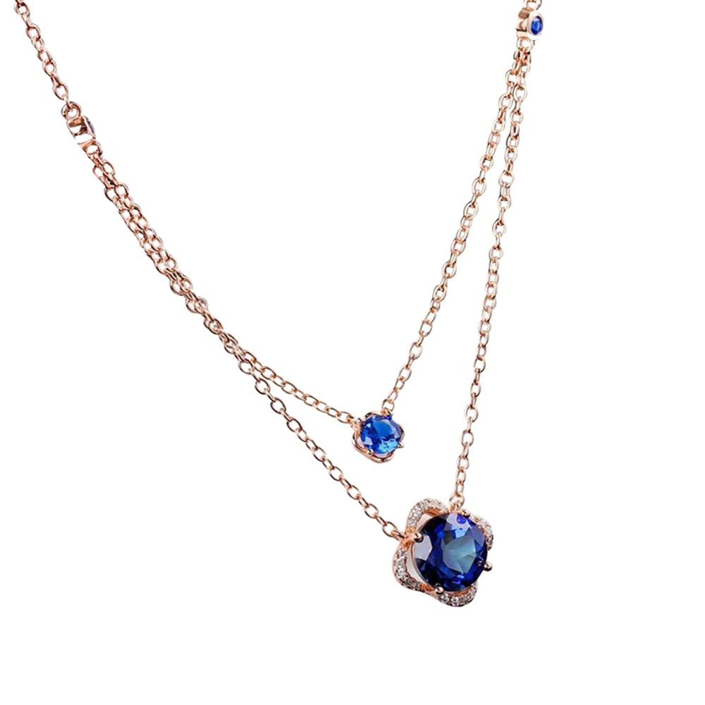Bijoux en cristal en gros nouveau design de mode 925 en argent sterling naturel bleu topaze pierres précieuses pendentif collier pour les femmes
