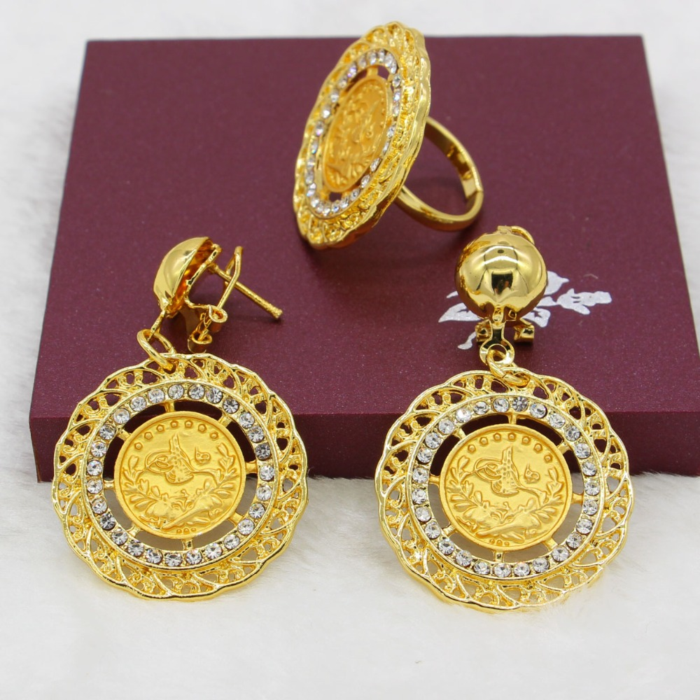 Adixyn Gold Color Turkey Coins Necklace Earring Ring Bangle