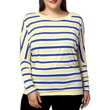 2019 Casual Loose Pattern Comfortable Viscose Women's Plus Size Casual Batwing Sleeve Striped Pattern T-Shirt