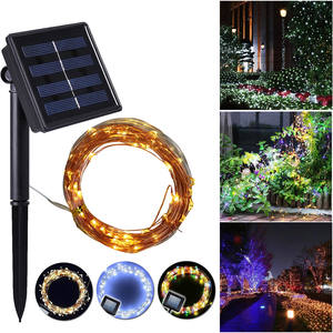 Copper-Wire-Lights Powered-String Safe Holiday Solar Outdoor Waterproof Party-Decoration