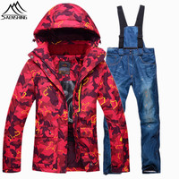 Saenshing Winter Ski Suit Female Warm Waterproof Snowboarding Suits Breathable Snow Jacket Denim Snowboard Pant Ski