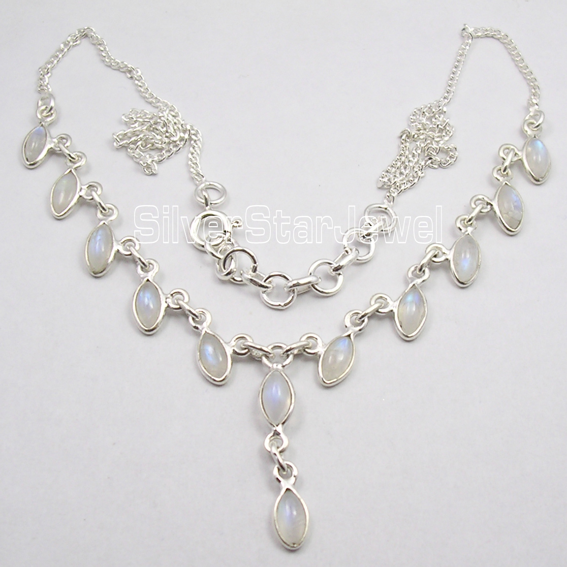 Silver MARQUISE RAINBOW MOONSTONE Curb Chain Necklace 17 7 8 Inches
