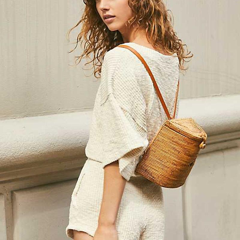 Hot Bali Fashion Rattan Woven Backpack Luxury Brand Handmade Straw Shoulder Bag Bohemian Retro Holiday Travel