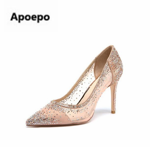 Apopeo beige bling fashion design women's high heel pumps sexy pointed toe Party Wedding stiletto shoes 12cm thin heels shoes craylorvans top quality 8 10 12cm women pumps new fashion leopard color pointed toe high heel wedding shoes ultra thin high heel