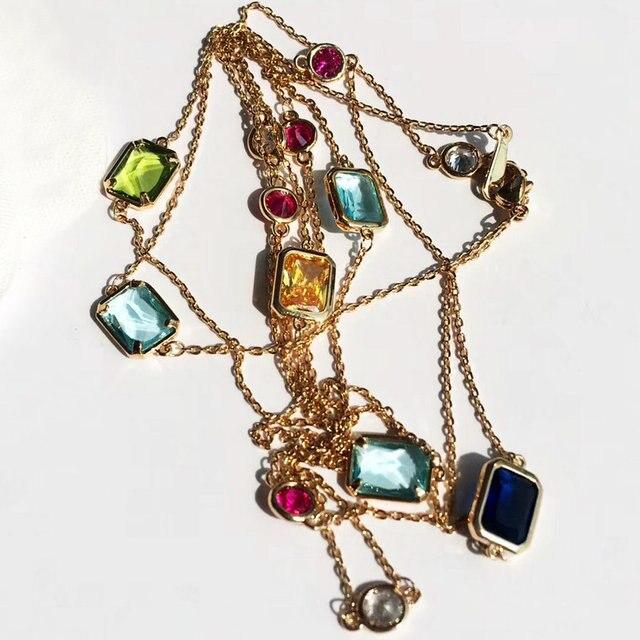 SINZRY Lusso 104 cm Lungo maglione collane geometria di cristallo shinning di cristallo costume accessorio dei monili