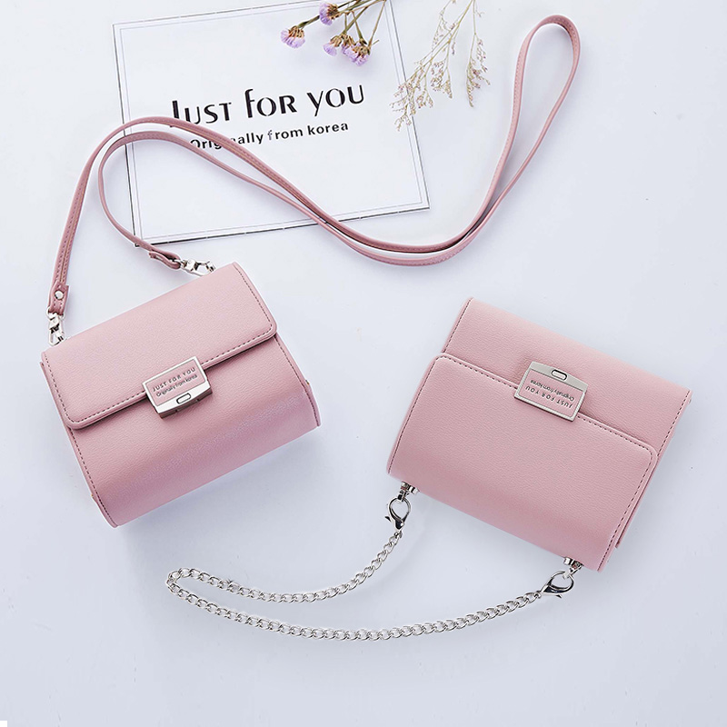 Fashion Leather Handbags Women Shoulder Bags Quality Clutches Female Small Messenger  Two Shoulder Straps Chains Crossbody Bag 542327f9c3625