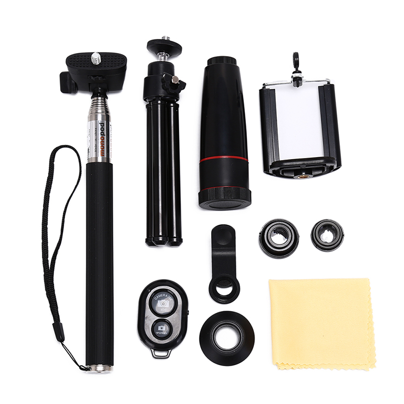 With Clips 10in1 Kits 12x Phone Lens 3in1 Fish Eye Lens Wide Angle Macro Lenses For For Cell Phone Mobile Tripod
