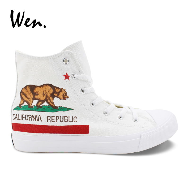 Wen White Laced Shoes Design Hand Painted California Flag Mens Canvas Vulcanize Shoes Womens Sneakers High Top Cross Straps Flat wen women vulcanize shoes high top white canvas sneakers round toe low heeled casual flat original design food series patterns