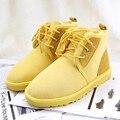 UVWP Moda Mujeres Nieve Botas de piel de Oveja Genuina Mujer de Cuero Del Tobillo Botas de Piel 100% Natural Casual Zapatos Calientes de Las Mujeres Botas de Invierno