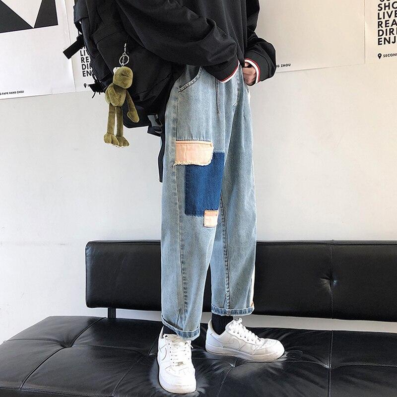 2019 Summer Men's Wide Leg Pants Patch Baggy Homme Casual Pants Cargo Pocket Jeans Biker Denim Blue Color Trousers Size S-2XL 5