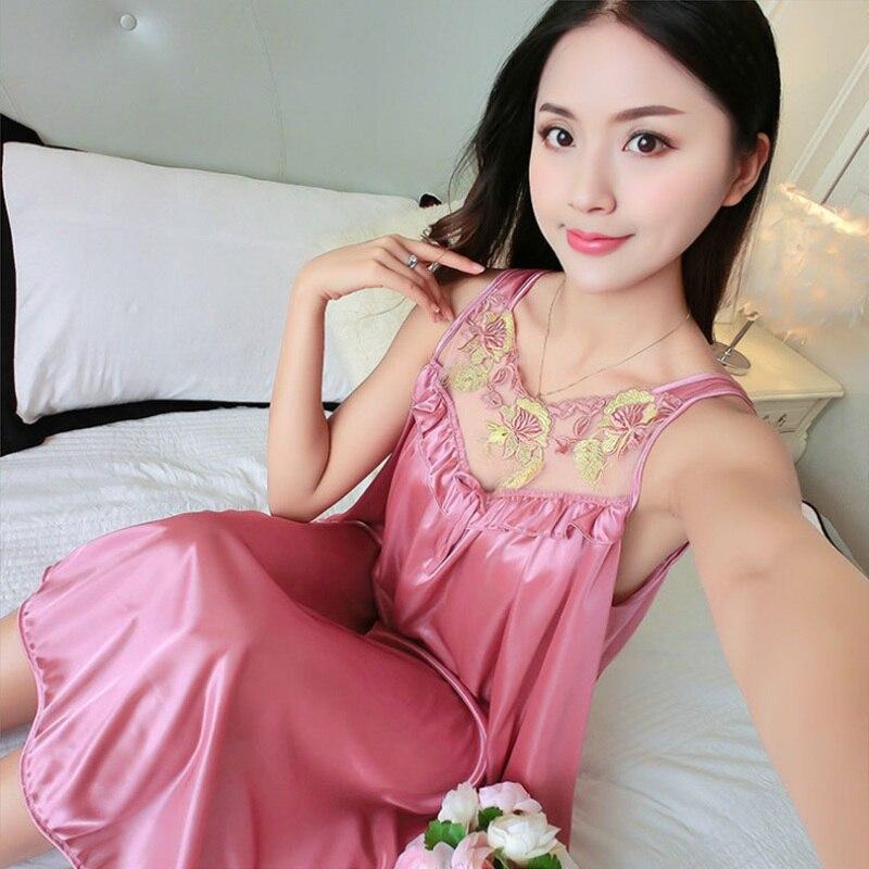 Women Casual Chemise 12 Color Nightie Nightwear Lingerie Nightdress Sleepwear Dress Hot Sale Plus Size New Sexy Silk Nightgowns 2