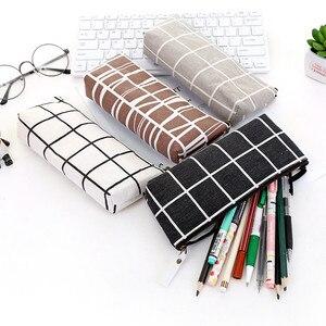 Canvas Geometric Pencil Case School Simple Striped grid Solid Color Cute Kawaii Pencil Bag Pouch Office Students Kids Supplies