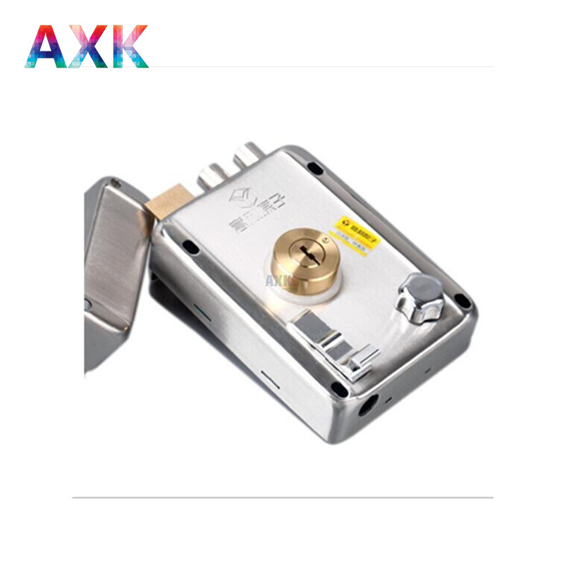 Cylinder hardware indoor aluminum home security gate door lock code with 3 keys lock cylinder cut edge right open no buckle open shoulder raw edge cut and sew crop pullover