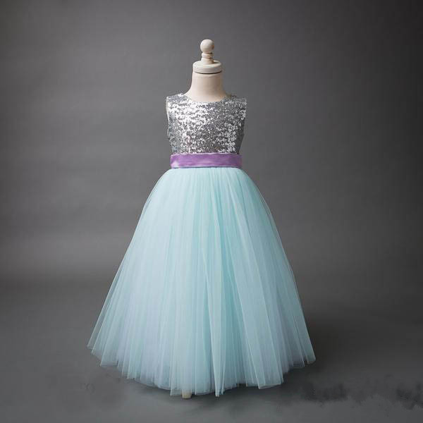 Real Pictures Long Flower Girl Dress for Weddings Ball Gown Sequins Tulle Girl Party Communion Dress Pageant Gown with Bow cute sleeveless sequins embellish multilayered girl s ball gown dress