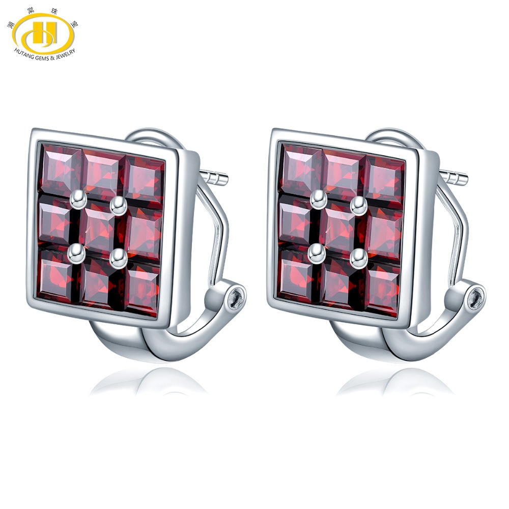Hutang Sudoku Clip Earrings Natural Gemstone 8 64ct Garnet 925 Silver Fine Jewelry Classic Design for