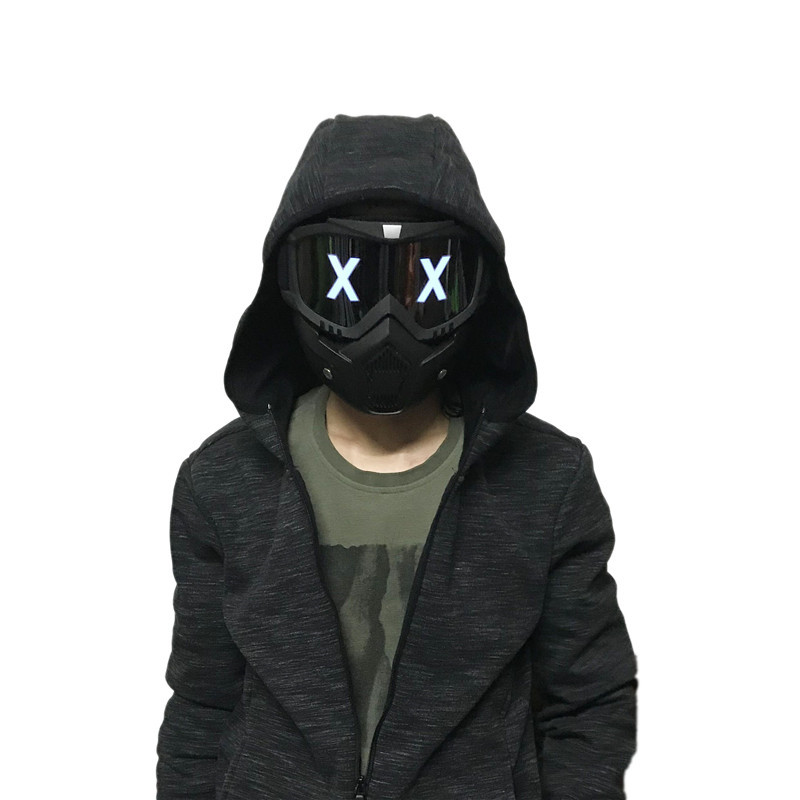 4854048337a4 Στολές & αξεσουάρ LED Lights Mask Luminous Half Face X Glowing Eyes DIY  Eyewear Mask Removable masks DJ Party Halloween Cosplay Prop Gift
