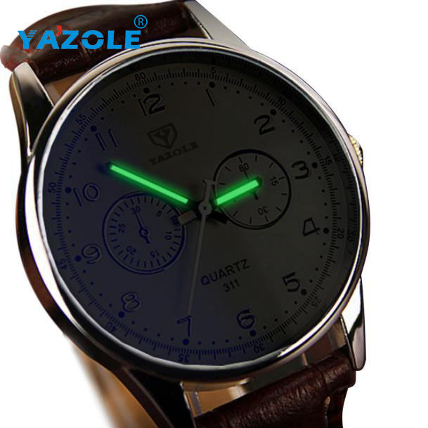 Splendid Black Fashion Top Luxury Band Mens Waterproof Noctilucent Leather Men Blue Ray Glass Quartz Analog Watches Men 2017