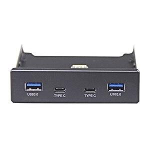 Image 2 - En labs 4 portas multi USB C usb 2.0 usb 3.0 hub divisor painel frontal combo suporte adaptador para desktop 3.5 Polegada floppy bay