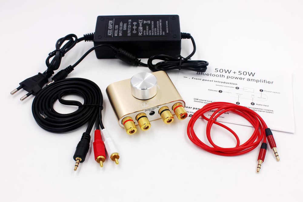 50W X2 F900 Bluetooth Receiver Digital Power Audio Amplifier Hi Fi Stereo Power AMP dengan Power Adapter