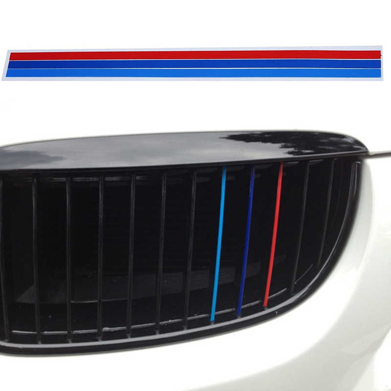 3 X M-Colored Stripe Car Stickers Car Exterior Auto Products Grille Car Decal For BMW Series Automotive Car Accessories