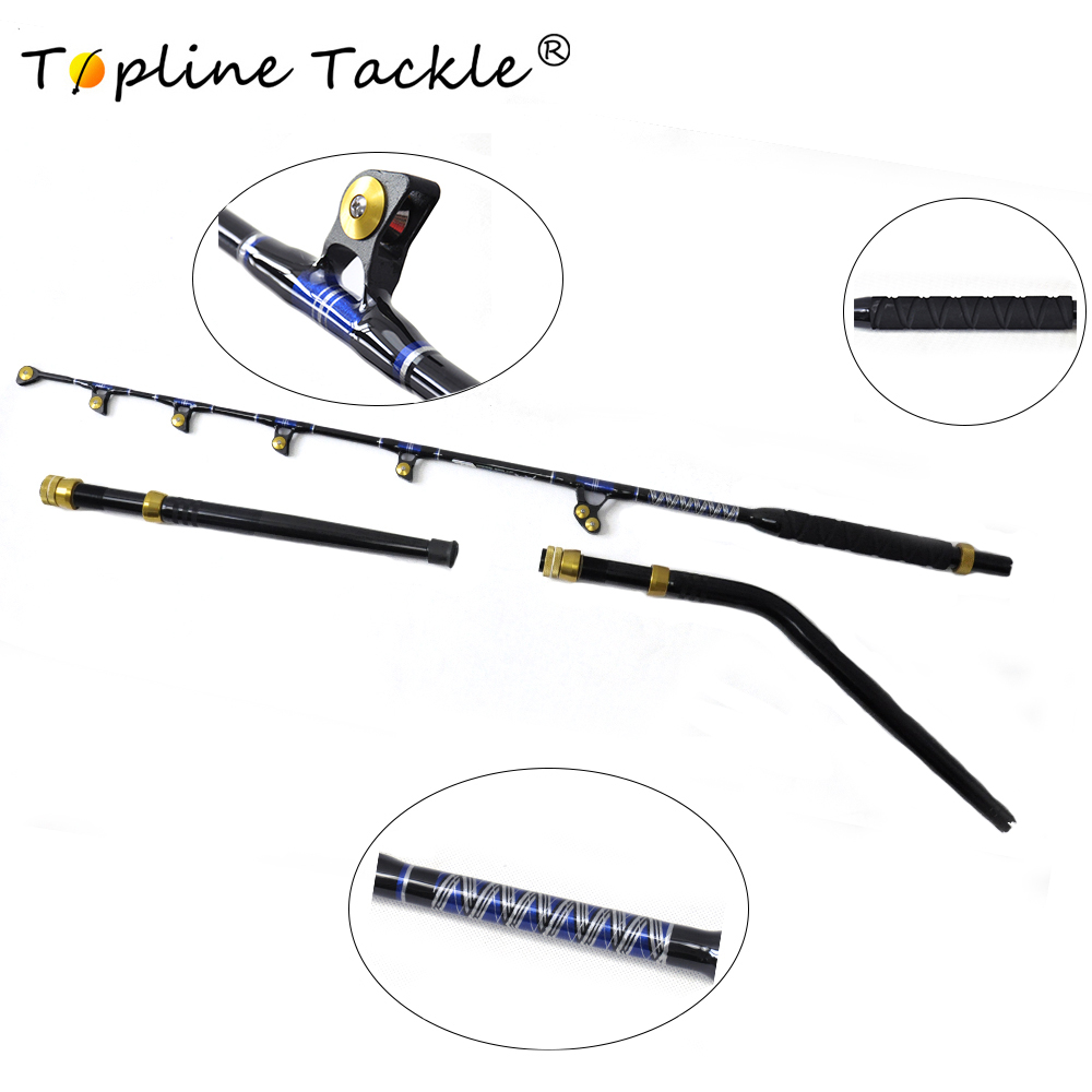TopLine Tackle BlueSpear 130lbs 6 6 Fishing Trolling Rod Alu Butt Trolling RodStraight Butt Rod and