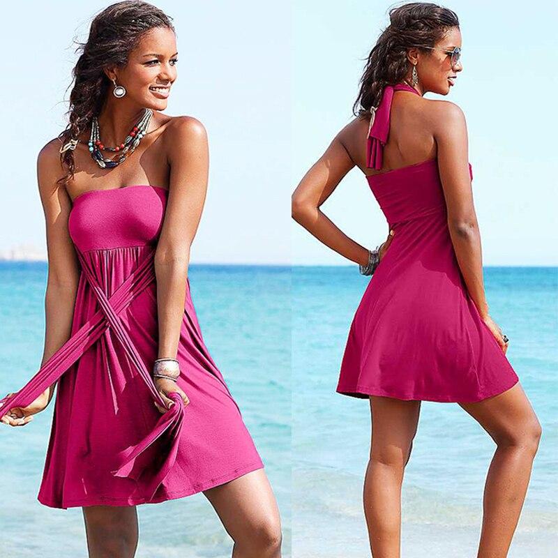 Hot Multy Way Feminine Cover Ups 2017 Removable Padding Convertible Plus Size Women Beach Dress S.M.L.XL