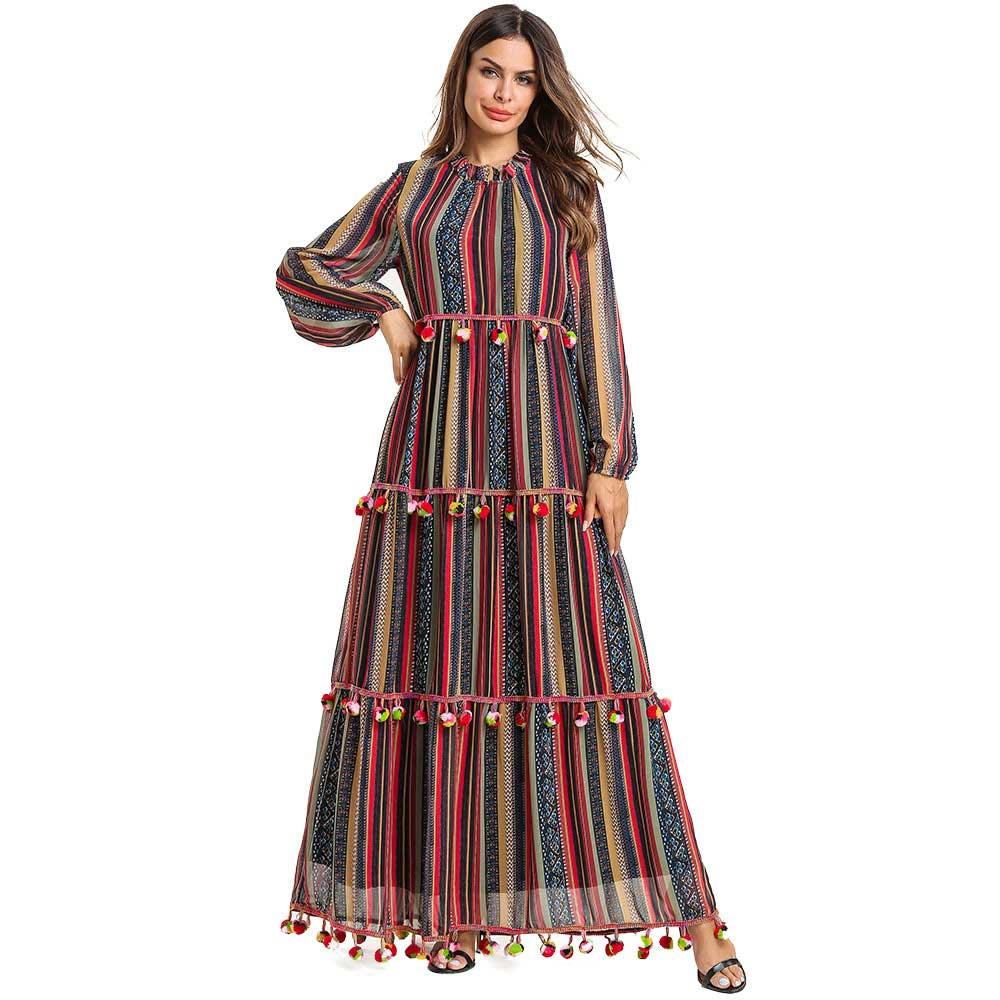 2019 Marque Faux Soie Femmes abaya pour musulman grande taille Rayé Mousseline de Soie Surdimensionné Robe maxi Kaftan Islamique Dubaï Arabe Robe VKDR1516