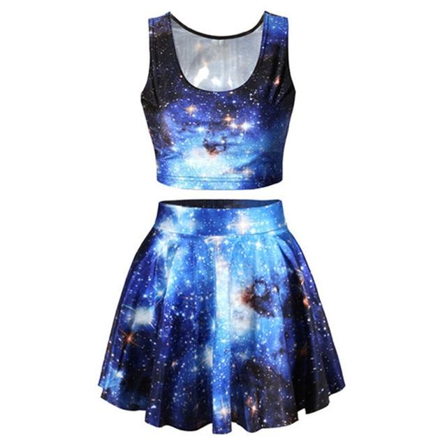2017 Summer Women 3D Galaxy Flower Emoji Printed Crop Top And Skirt Set Party Wear Clothing Girl Sexy Slim Skirt+3d Vest Tops