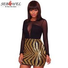 SEBOWEL New Sexy Gold Sequin Club Mini Dress Women Black Sheer Mesh Long Sleeve Slim Sheath Short Party Dresses Ladies Vestidos