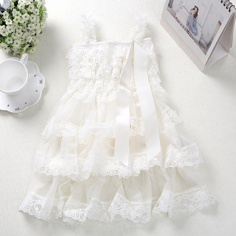 Baby Girls Princess Lace Party Klänning Fluffy 3 Layer Flower Girl Dresses Baby Ärmlös Wedding Sideant Party kostymer kläder