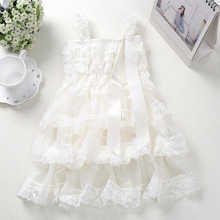 Top Quality Flower Girl Lace Dress Ivory Lace Ruffle Layered Party Dress For Birthday Free Shipping