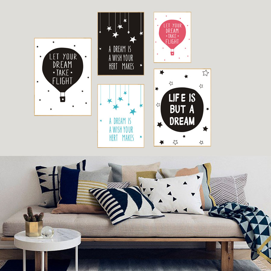 Dream Quotes Canvas Print Encouraging Letters Poster Art Office Kids ...