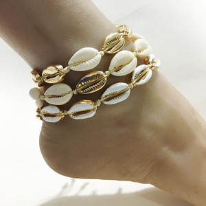 Anklet Foot-Chain Women Bracelet Girls Cowrie-Shell Gold-Color Vintage Beach for on The