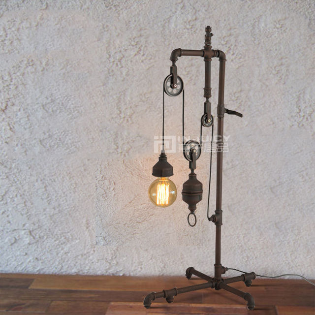 Retro Industrial Machinery LED Lift Iron Loft Cafe Bar Elevator Table Desk Lamp Light Club Decor