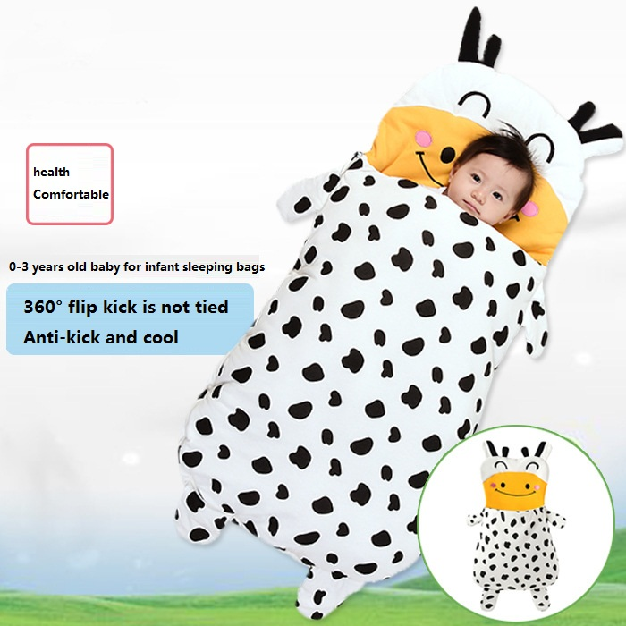 Baby Sleeping Bag Soft Cotton Thick Blanket Winter Sweet Cartoon Dairy Cow Babies Newborn Kids Sleeping Bags Warm With Anti-kic