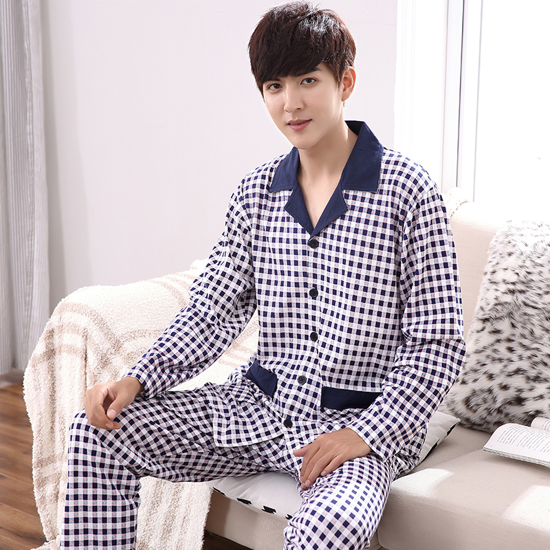 Autumn 100%Cotton Mens Long Sleeve Pajamas Suit Turn-down Collar Leisure Soft Loose Plus Size M-4XL Male Pyjamas ...