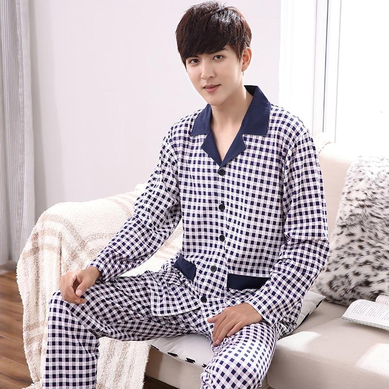 Autumn 100%Cotton Mens Long Sleeve Pajamas Suit Turn-down Collar Leisure Soft Loose Plus Size M-4XL Male Pyjamas ...