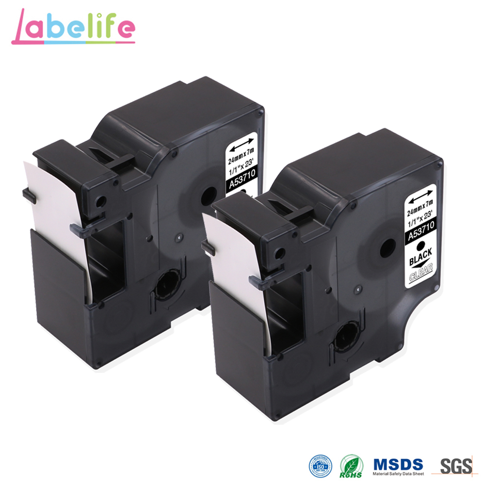 Labelife 2 Pack 53710 Black on Clear 24mm*7m Compatible Dymo D1 S0720930 Electronic Tape Cartridge for Dymo Label Printer|Printer Ribbons| |  - title=