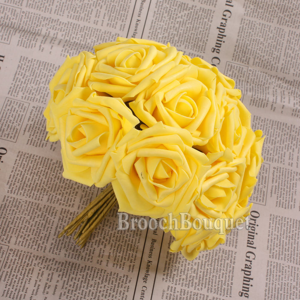 Pretty Charming 12 Heads Lovely Cute Artificial Rose Flower Wedding Bridal Bouquet Home Decor 10 Color