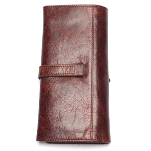 Image 3 - New Luxury Brand 100% Top Genuine Cowhide Leather High Quality Men Long Wallet Coin Purse Vintage Designer Male Carteira Wallets