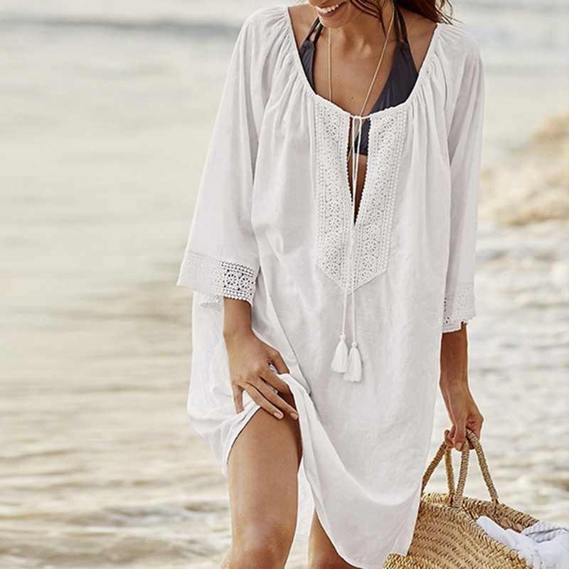 LAAMEI/Хлопковые Туники для женщин, купальник, платье, женские купальники, пляжная одежда, парео, свободное короткое платье, Saida De Praia